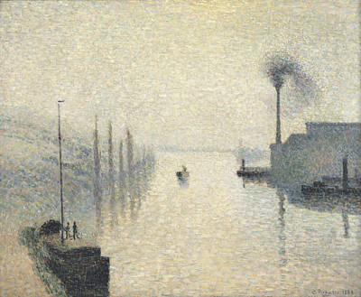 L Ile Lacroix. Rouen. The Effect Of Fog Print by Camille Pissarro