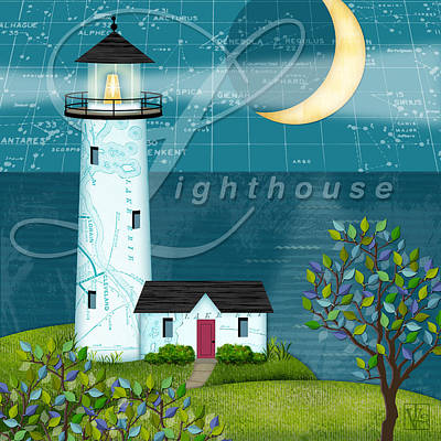 The Trees Mixed Media - L Is For Lighthouse by Valerie Drake Lesiak