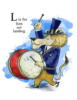 Drum Painting - L Is For Lion by Sean Hagan
