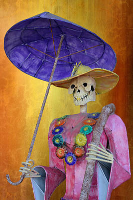 Calavera Photograph - La Catrina With Purple Umbrella by Christine Till