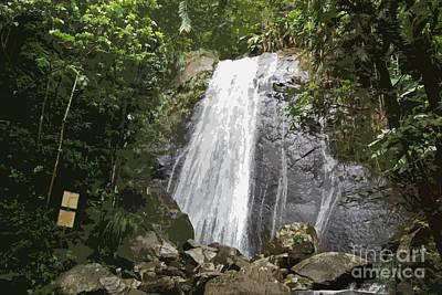 La Coca Falls El Yunque National Rainforest Puerto Rico Print Cutout Print by Shawn O'Brien