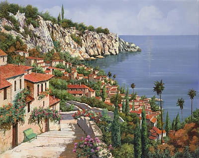 Benches Painting - La Costa by Guido Borelli