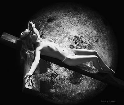 La Crucificada Y La Luna Print by Ramon Martinez
