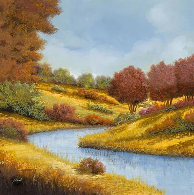 Yellow Stream Print featuring the painting La Curva Del Fiume by Guido Borelli