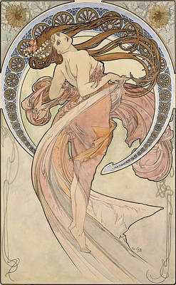 1890s Photograph - La Danse, 1898 Watercolour On Card by Alphonse Marie Mucha