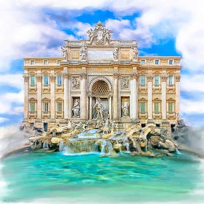 Baroque Mixed Media - La Dolce Vita - The Trevi Fountain In Rome by Mark E Tisdale