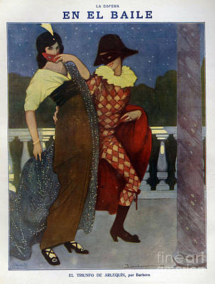 La Esfera 1910s Spain Cc Harlequins Print by The Advertising Archives