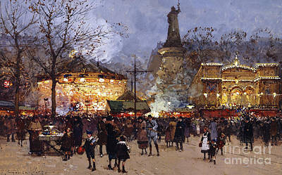 French Signs Drawing - La Fete Place De La Republique Paris by Eugene Galien-Laloue