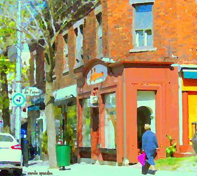 Outremont Painting - La Hacienda Resto Rue De L'epee Et Van Horne Outremont Montreal Spring City Scene Carole Spandau by Carole Spandau