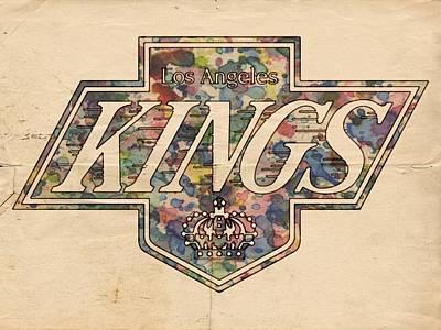 Goaltender Painting - La Kings Vintage Art by Florian Rodarte