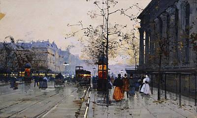 Horse Drawn Carriage Painting - La Madeleine Paris by Eugene Galien-Laloue