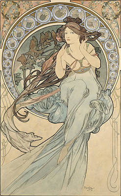 1890s Photograph - La Musique, 1898 Watercolour On Card by Alphonse Marie Mucha