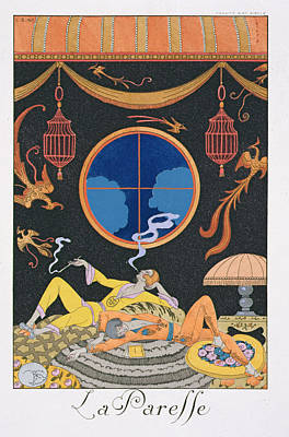 Ground Painting - La Paresse by Georges Barbier