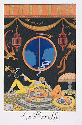 La Paresse Print by Georges Barbier