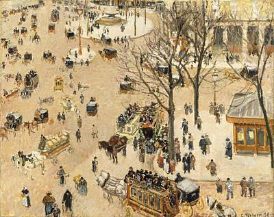 La Place Due Theatre Francais Print by Camille Pissarro