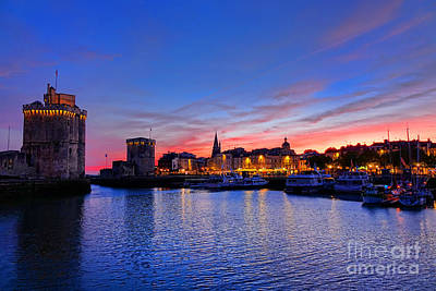La Rochelle Port At Dusk In France  Print by Olivier Le Queinec