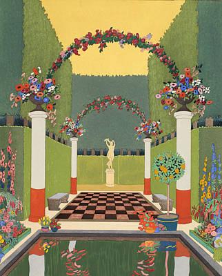 Pool Drawing - La Salle Verte by Georges Barbier