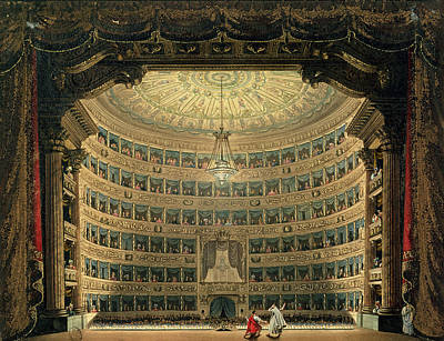 Interior Scene Painting - La Scala, Milan, During A Performance by Italian School