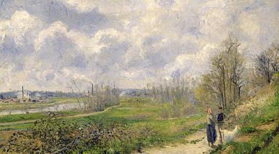 La Sente Du Chou Near Pontoise Print by Camille Pissarro