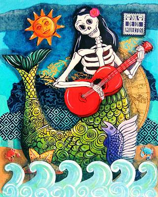 Loteria Mixed Media - La Sirena Collage by Candy Mayer