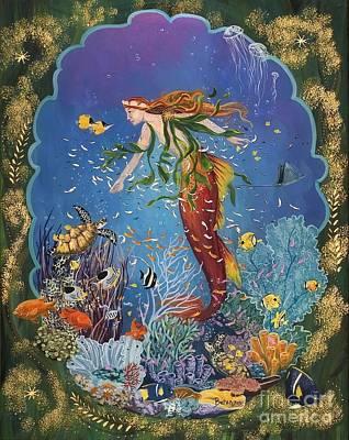 Angel Mermaids Ocean Painting - La Sirena by Sue Betanzos