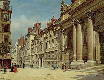 Perspective Painting - La Sorbonne by Paul Joseph Victor Dargaud