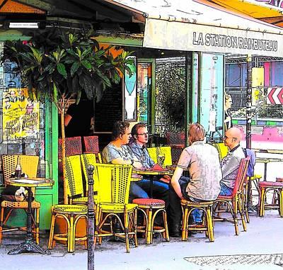 La Station Rambuteau Wine Drinkers Print by Jan Matson