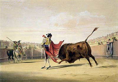 Bullfighter Drawing - La Suerte De La Capa, 1865 by William Henry Lake Price