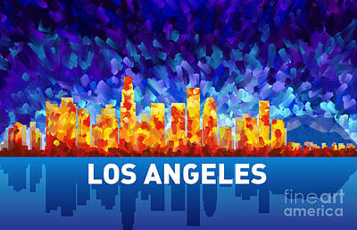 Los Angeles Skyline Painting - Los Angeles by Tim Gilliland