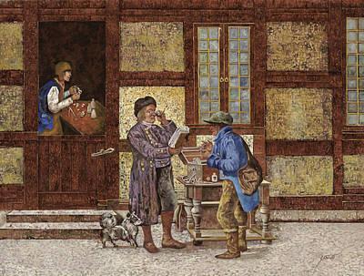 Village Painting - La Vendita Degli Occhiali by Guido Borelli