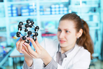 Lab Assistant Holding Molecular Model Print by Wladimir Bulgar