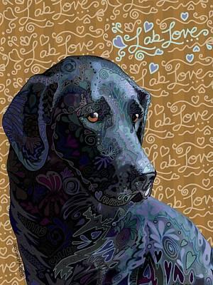 Retriever Digital Art - Lab Love Black by Sharon Marcella Marston