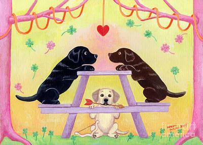 Chocolate Lab Puppy Painting - Lab Romance by Naomi Ochiai