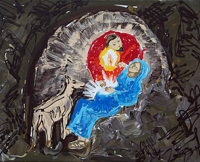 Pregnancy Painting - Labor In The Manger by Anne Cameron Cutri