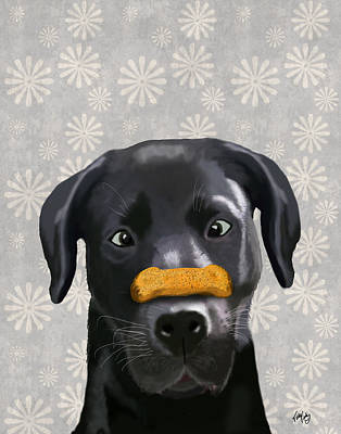 Labrador Black With Bone On Nose Print by Kelly McLaughlan