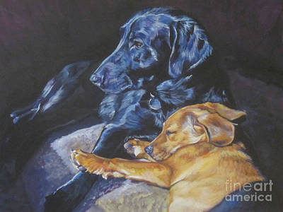 Black Lab Puppy Painting - Labrador Love by Lee Ann Shepard