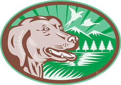 Hunting Dog Digital Art - Labrador Retriever Hunting Dog Retro by Aloysius Patrimonio