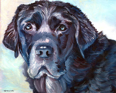 Black Lab Puppy Painting - Labrador Retriever by Lyn Cook
