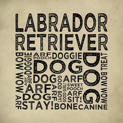 Labrador Retriever Digital Art - Labrador Retriever Typography by Flo Karp
