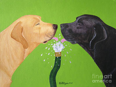 Labs Like To Share 2 Print by Amy Reges
