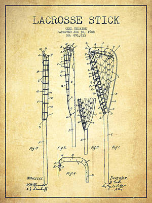 Technical Drawing - Lacrosse Stick Patent From 1908 - Vintage by Aged Pixel