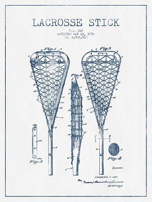 Goalie Digital Art - Lacrosse Stick Patent From 1950  -  Blue Ink by Aged Pixel