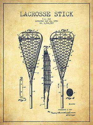 Goalie Digital Art - Lacrosse Stick Patent From 1950- Vintage by Aged Pixel