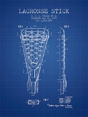 Lacrosse Stick Patent From 1970 -  Blueprint Print by Aged Pixel