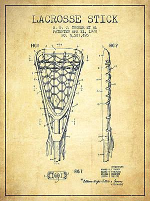 Goalie Digital Art - Lacrosse Stick Patent From 1970 -  Vintage by Aged Pixel