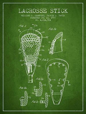 Goalie Digital Art - Lacrosse Stick Patent From 1977 -  Green by Aged Pixel