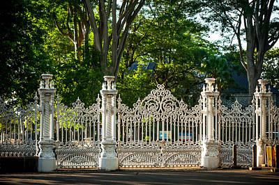Lacy Gates And Fence Of The Pamplemousse Botanical Garden. Mauritius Print by Jenny Rainbow