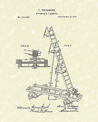 1874 Drawing - Ladder 1874 Patent Art by Prior Art Design