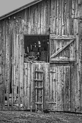 Barn Loft Photograph - Ladder To The Loft - Vertical - Black And White by Nikolyn McDonald