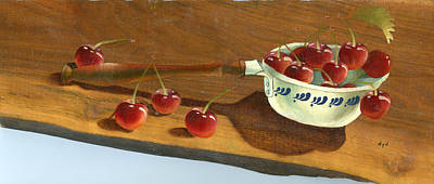 Fruits Painting - Ladle Of Cherries by Doreta Y Boyd